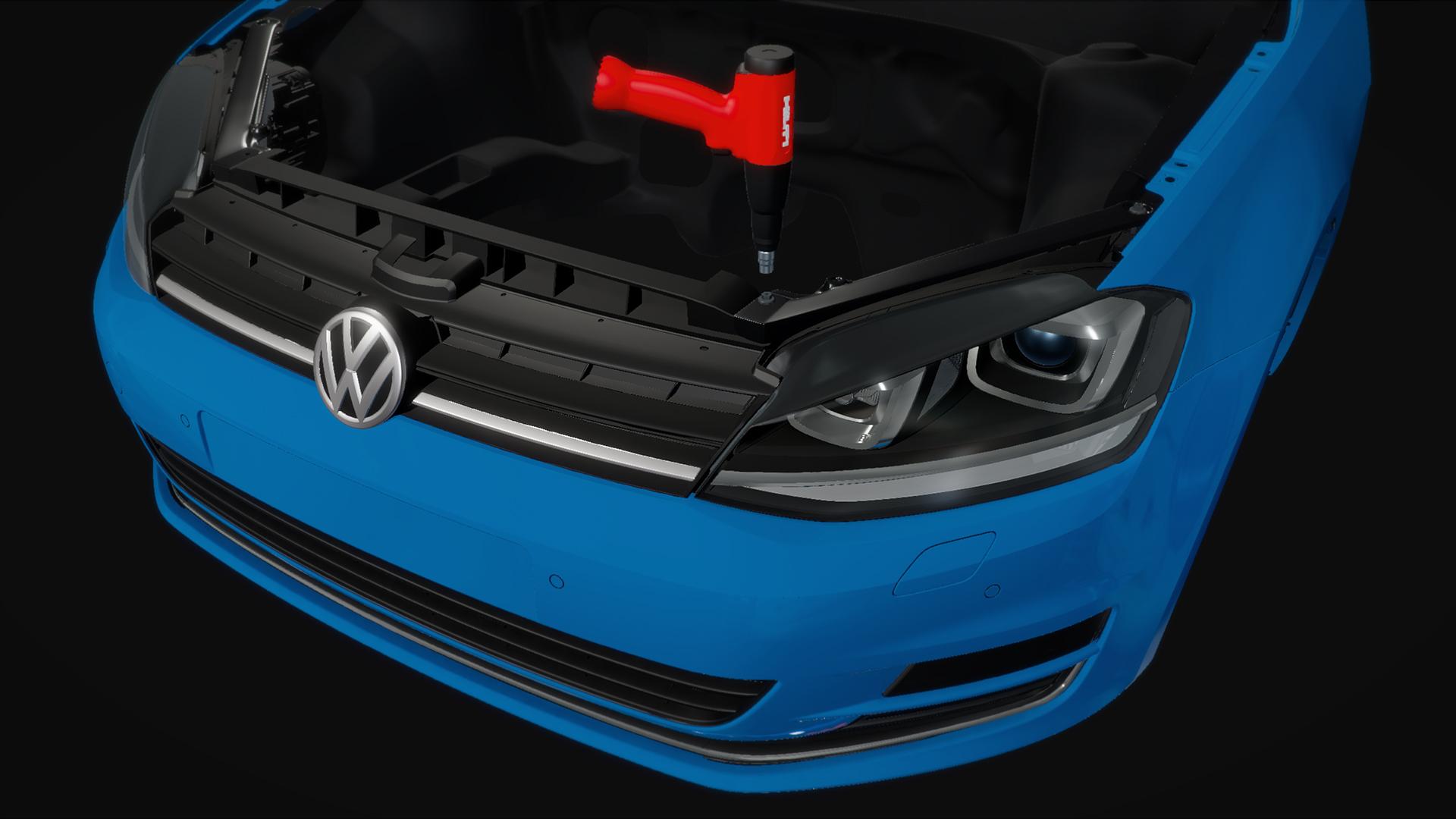 VW Scheinwerfer Szene, low poly modeling für eine Unity Aplikation