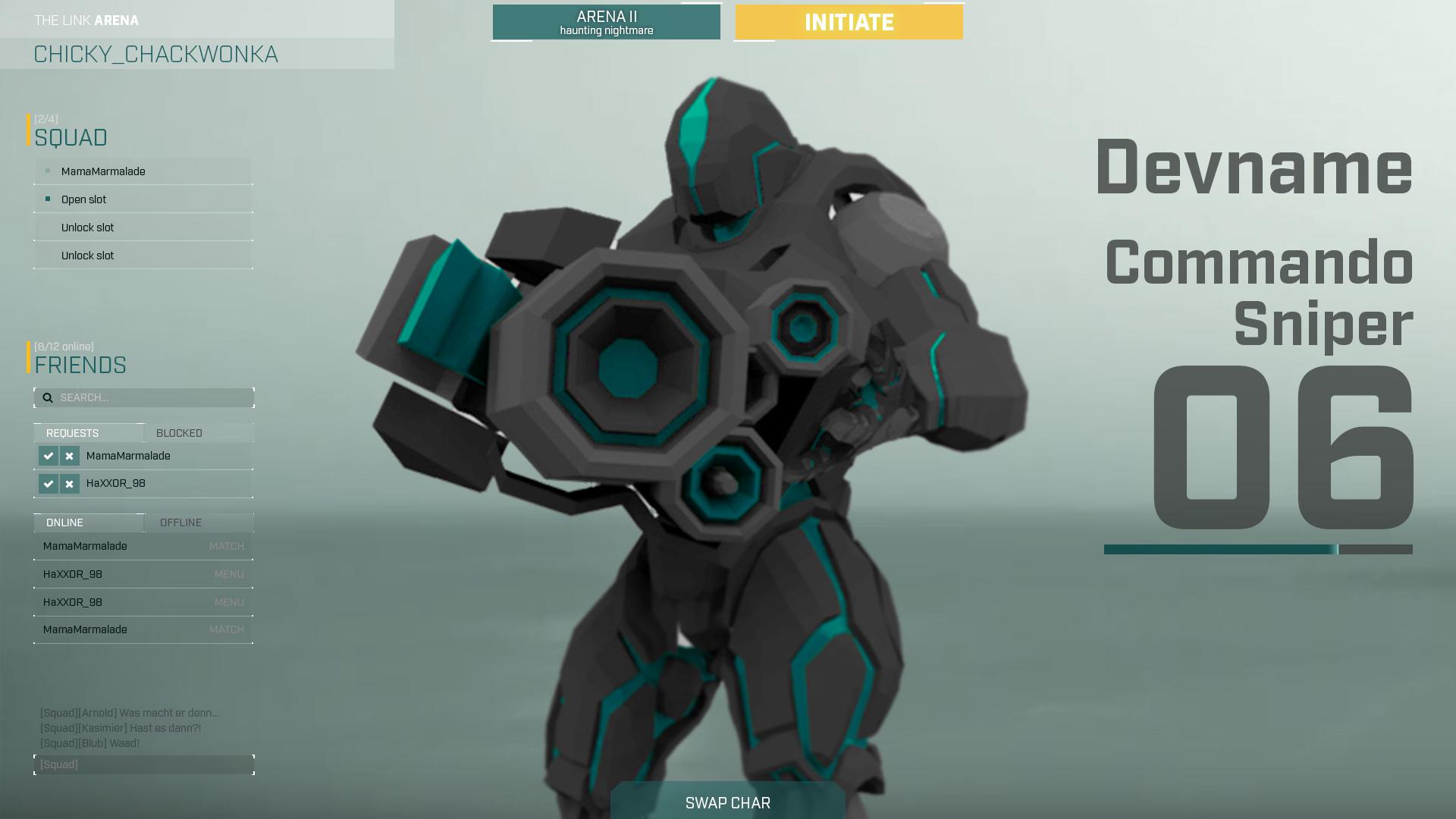 UI mockup eines unserer Spiele